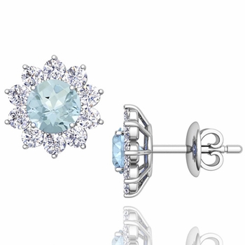 Aquamarine and Diamond Halo Earrings in 14k Gold Studs, 5mm