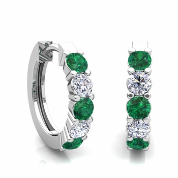 5 Stone Emerald and Diamond Hoop Earrings in 14k Gold Hoops