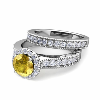 Halo Bridal Set: Milgrain Diamond and Yellow Sapphire Wedding Ring Set in 14k Gold, 7mm