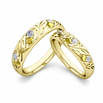His and Hers Matching Wedding Band in 18k Gold: Diamond and Yellow Sapphire