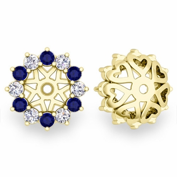 Sapphire and Halo Diamond Earring Jackets in 18k Gold, 5mm