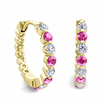 Floating Pink Sapphire and Diamond Hoop Earrings in 18k Gold Hoops