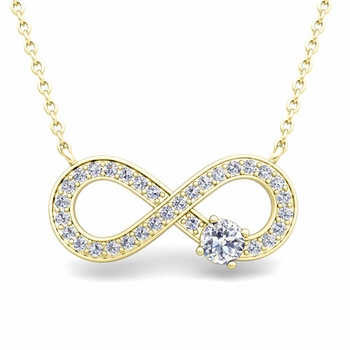 Solitaire Diamond Infinity Necklace in 18k White or Yellow Gold
