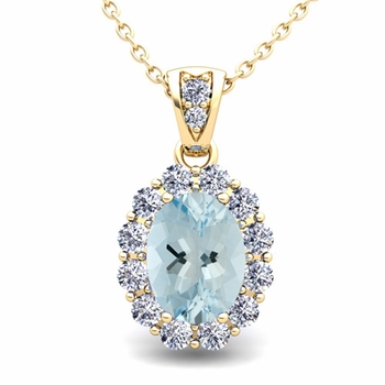 Halo Diamond and Aquamarine Necklace in 18k Gold Pendant 8x6mm