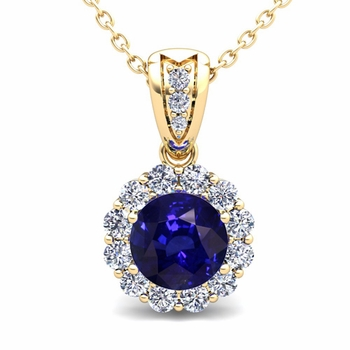 Diamond and Sapphire Pendant in 18k Gold Halo Necklace 6mm