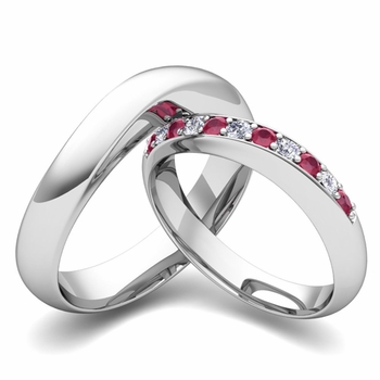 Matching Wedding Band in Platinum Curved Diamond and Ruby Ring