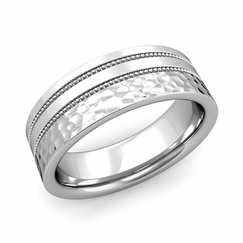 Double Milgrain Wedding Ring in Platinum Comfort Fit Band, Hammered Finish, 7mm