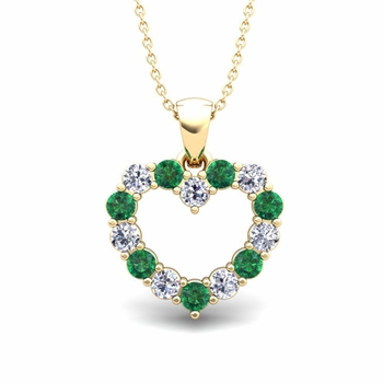 Heart Diamond and Emerald Necklace in 18k Gold Pendant