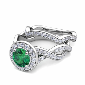 Infinity Diamond and Emerald Engagement Ring Bridal Set in 14k Gold, 7mm