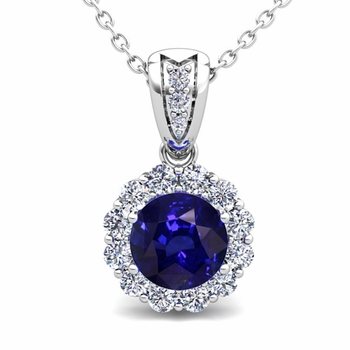 Diamond and Sapphire Pendant in 14k Gold Halo Necklace 6mm