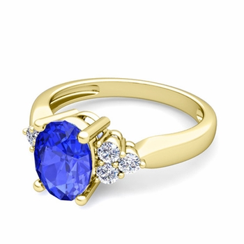 Three Stone Diamond and Ceylon Sapphire Engagement Ring in 18k Gold, 7x5mm