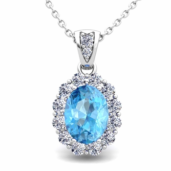 Halo Diamond and Blue Topaz Necklace in 14k Gold Pendant 8x6mm