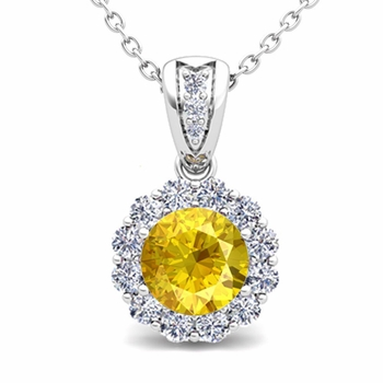 Diamond and Yellow Sapphire Pendant in 14k Gold Halo Necklace 6mm