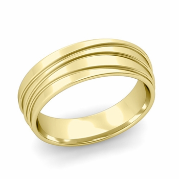 Wave Comfort Fit Wedding Ring in 18k Gold Polished Finish Band, 6mm