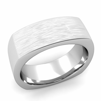 Square Comfort Fit Wedding Ring in Platinum Matte Brushed Band, 8mm
