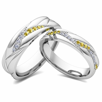 Matching Wave Wedding Band in Platinum Yellow Sapphire and Diamond Ring