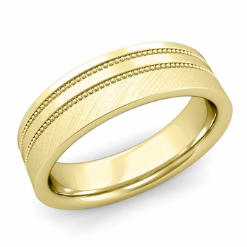 Double Milgrain Wedding Ring in 18k Gold Comfort Fit Band, Mixed Brushed Finish, 6mm