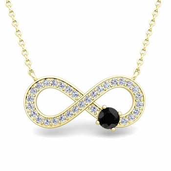 Solitaire Black and White Diamond Infinity Necklace in 14k White or Yellow Gold