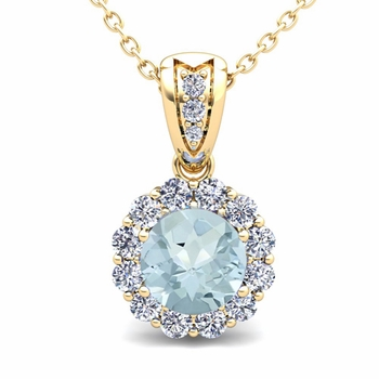 Diamond and Aquamarine Pendant in 18k Gold Halo Necklace 6mm
