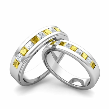 Matching Wedding Band in Platinum Princess Cut Diamond Yellow Sapphire Ring