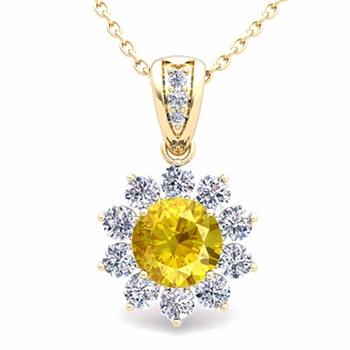 Halo Diamond and Yellow Sapphire Pendant in 18k Gold Necklace 6mm
