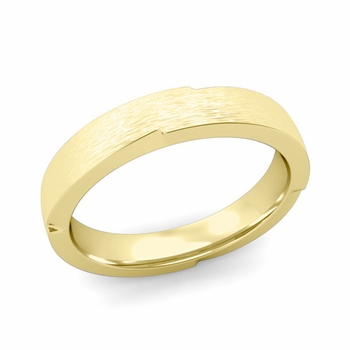 Unique Comfort Fit Wedding Band with Matte Brushed Finish in 18k Gold Band, 4mm