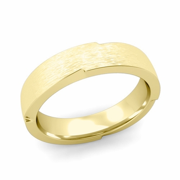 Unique Comfort Fit Wedding Band with Matte Brushed Finish in 18k Gold Band, 5mm