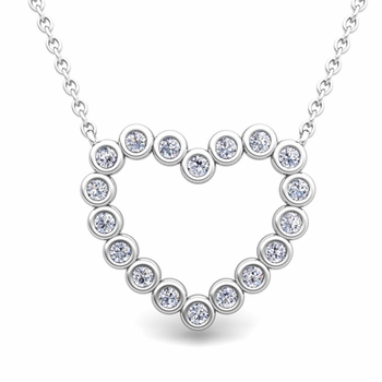 Bezel Diamond Heart Necklace in 14k Gold Pendant