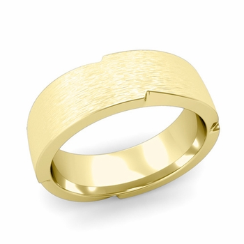 Unique Comfort Fit Wedding Band with Matte Brushed Finish in 18k Gold Band, 7mm