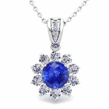 Halo Diamond and Ceylon Sapphire Pendant in 14k Gold Necklace 6mm