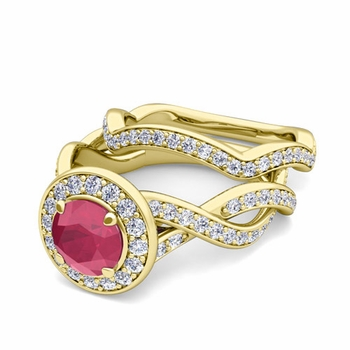 Infinity Diamond and Ruby Engagement Ring Bridal Set in 18k Gold, 5mm