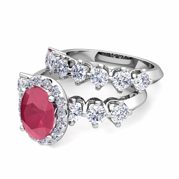 Bridal Set of Crown Set Diamond and Ruby Engagement Wedding Ring in Platinum, 7x5mm