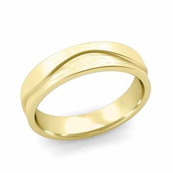 Wave Wedding Band in 18k Gold Comfort Fit Ring, Brushed Finish, 5mm