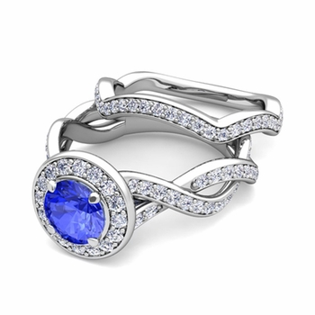 Infinity Diamond and Ceylon Sapphire Engagement Ring Bridal Set in 14k Gold, 7mm