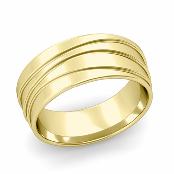 Wave Comfort Fit Wedding Ring in 18k Gold Polished Finish Band, 8mm