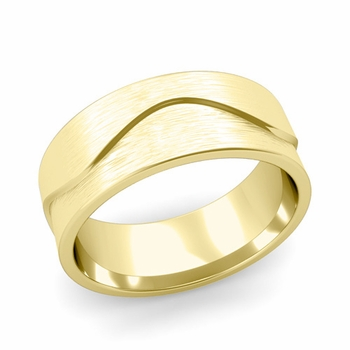 Wave Wedding Band in 18k Gold Comfort Fit Ring, Brushed Finish, 8mm