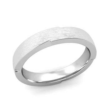 Unique Comfort Fit Wedding Band with Matte Brushed Finish in Platinum Band, 4mm