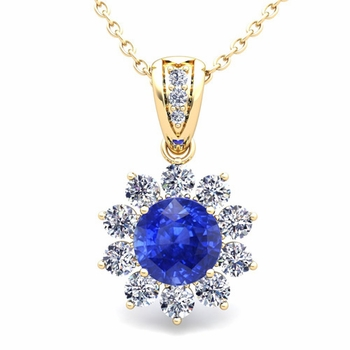 Halo Diamond and Ceylon Sapphire Pendant in 18k Gold Necklace 6mm