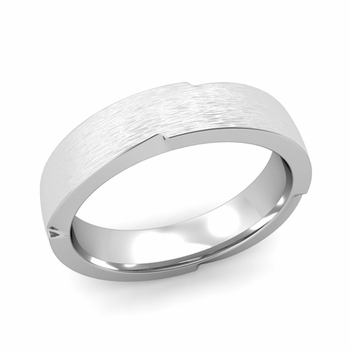 Unique Comfort Fit Wedding Band with Matte Brushed Finish in Platinum Band, 5mm