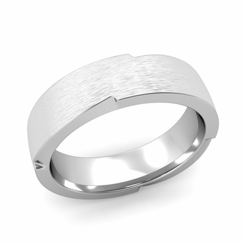 Unique Comfort Fit Wedding Band with Matte Brushed Finish in Platinum Band, 6mm