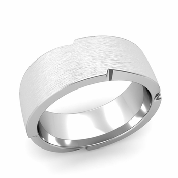 Unique Comfort Fit Wedding Band with Matte Brushed Finish in Platinum Band, 8mm