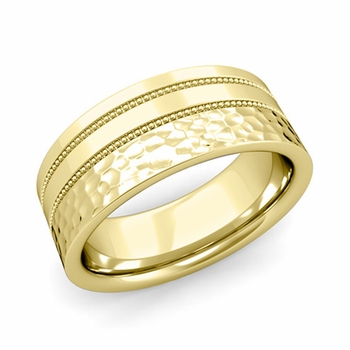 Double Milgrain Wedding Ring in 18k Gold Comfort Fit Band, Hammered Finish, 8mm