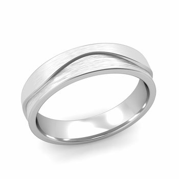 Wave Wedding Band in Platinum Comfort Fit Ring, Brushed Finish, 5mm