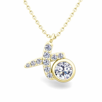 Solitaire Diamond Necklace in 18k Gold XO Pave Diamond Pendant