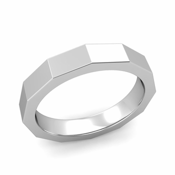 Square Comfort Fit Wedding Ring in 14k Gold Polished Finish Band, 4mm