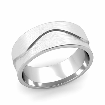Wave Wedding Band in Platinum Comfort Fit Ring, Brushed Finish, 8mm