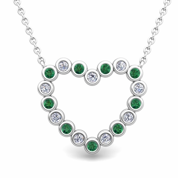 Bezel Diamond and Emerald Heart Necklace in 14k Gold Pendant