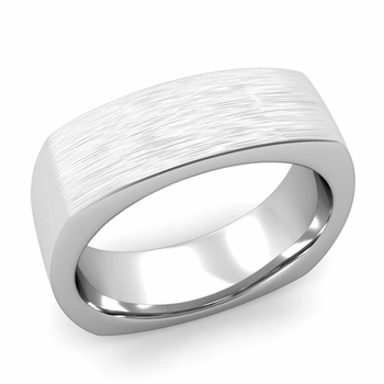 Square Comfort Fit Wedding Ring in Platinum Matte Brushed Band, 7mm