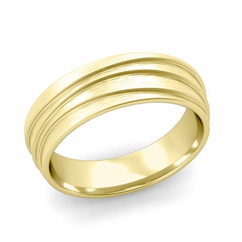 Wave Comfort Fit Wedding Ring in 18k Gold Brushed Finish Band, 6mm