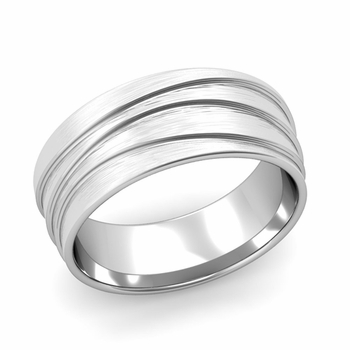 Wave Comfort Fit Wedding Ring in 14k Gold Brushed Finish Band, 8mm